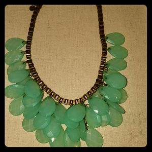 Teal beaded cascade necklace
